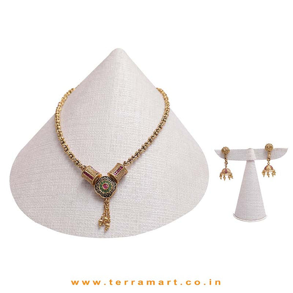 Gold, Pink & Green Stoned Traditional Look Antique Chain Set - Terramart Jewellery
