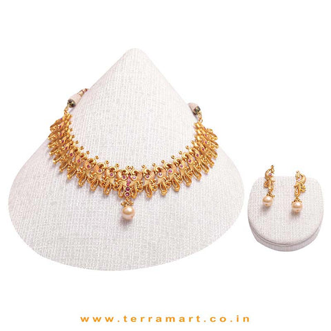 Peacock Designed Gold  & Pink Colour Antique Necklace Set With Pearl - Terramart Jewellery