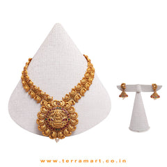 Lakshmi Designed Temple Antique Chain Set With Pink, Green, Gold Stone & Pearl - Terramart Jewellery