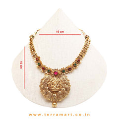 Graceful Lord Ganesha ( Gold ) Designed Pink & Green Stoned Antique Neckalce Set - Terramart Jewellery