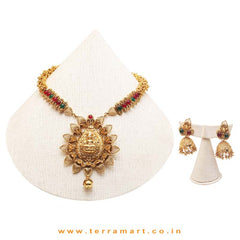 South Indian Temple Jewelry Design Chain Set With Pink & Gold Stone - Terramart Jewellery