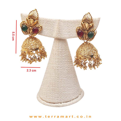 Terramart Jewellery - Grand Antique Neckwear Set with Lakshmi For Women (Pink,Gold&Green)