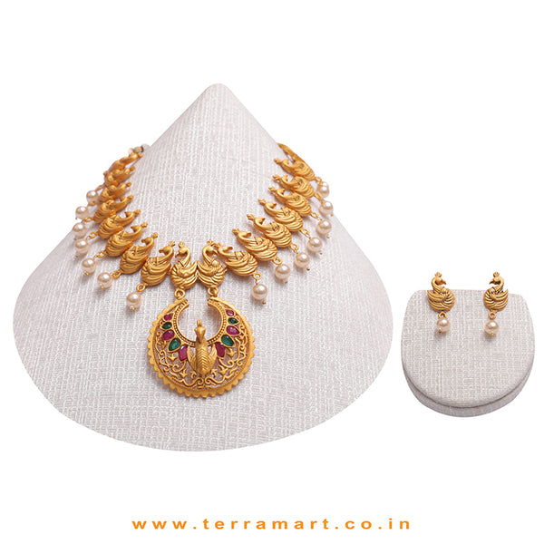 Peacock Designed Antique Necklace Set With Pink, Green, Gold Colour Stone & Pearl - Terramart Jewellery