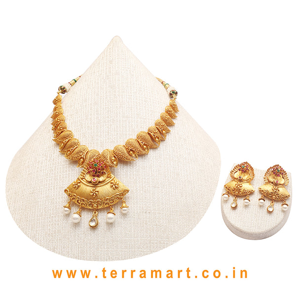 Mango Designed Pink, Green, White & Gold Antique Necklace Set With Pearl - Terramart Jewellery