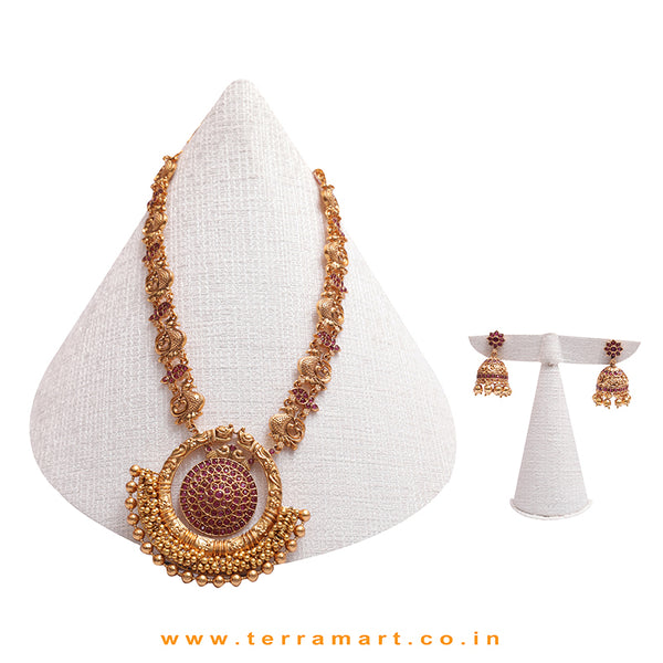 Traditional Designed Antique Long Chain Set With Pink & Gold Stones - Terramart Jewellery