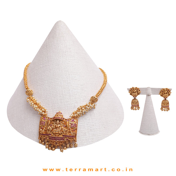 Gorgeous Lakshmi Designed Pink & Gold Antique Chain Set With Pearl - Terramart Jewellery