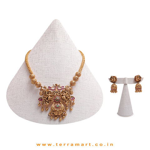 Pink, Green & Gold Stoned Dramatic Antique Chain With Jumka Set - Terramart Jewelery