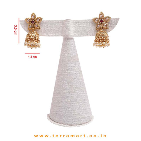 Gold, White & Pink Stoned Pearl Drop Antique Necklace With Jumka Set  - Terramart Jewellery