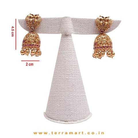 Temple Jewellery Gold, Pink Stoned Chain Set With Lakshmi Pendent  - Terramart Jewellery