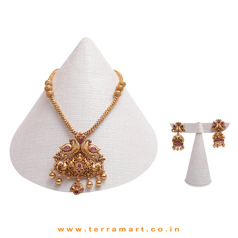 Pink, Gold Stoned Delightful Antique Chain With Earring Set - Terramart Jewellery