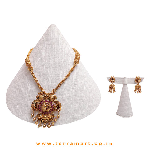 Gold Peacock Designed Pink Stoned Antique Long Chain Set  - Terramart Jewellery