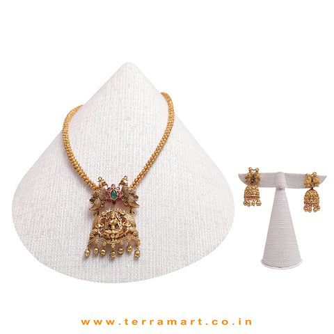 Lord Lakshmi, Parrot & Elephant Designed Artistic Antique Chain set With Gold, Pink & Green Stone - Terramart Jewellery