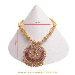 Lord Krishna Designed Pink Stoned Antique Chain Set With Antique Gold Beads - Terramart Jewellery