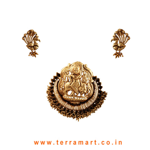 Terramart Jewellery - Antique Pendent Set with gold beads_Radha Krishna for Women / Girls (Gold & Peacock Earring)