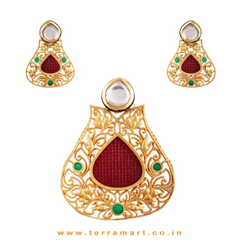 White, Pink & Gold Swanky Stoned Antique Pendent With Earrings - Terramart Jewellery