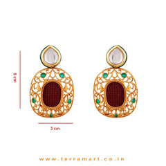 Swanky Pink & Gold Stoned Antique Pendent With Earrings - Terramart Jewellery
