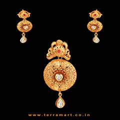 Pearl Drop Dizzy Antique Pendent Set With Gold, White & Pink Stone - Terramart Jewellery