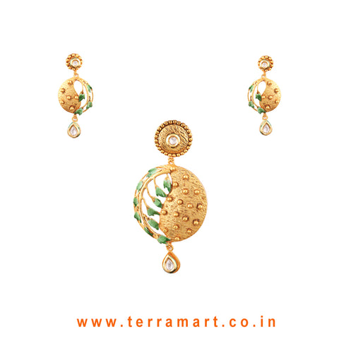 Green Leaf Designed  White, Green & Gold Antique Matte Finish Pendent Set - Terramart Jewellery