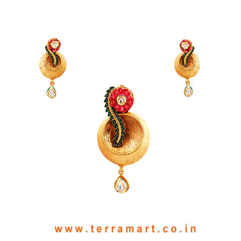 Terramart Jewellery  - Antique  Pendent Set  for Women / Girls  (Gold,White,Pink & Green)