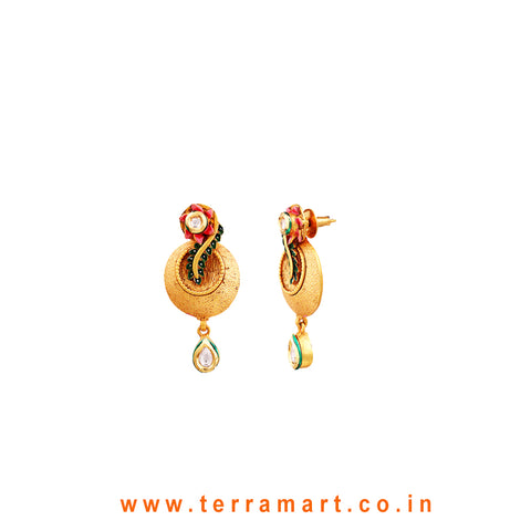 Floral White, Pink, Green & Gold Antique Matte Finish Pendent With Earrings - Terramart Jewellery