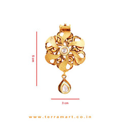Bewitching Floral Designed Antique Pendent Set With White & Gold Stone - Terramart Jewellery