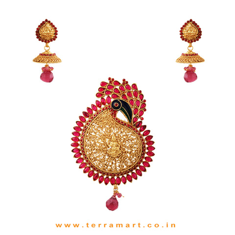 Dressy Peacock Designed Gold Pink Antique Pendent With Lakshmi Studed Jumkas - Terramart Jewellery