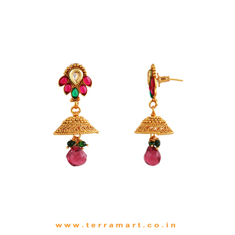Gratifying Antique Pendent & Jumka With White, Pink, Green, Gold Stone - Terramart Jewellery