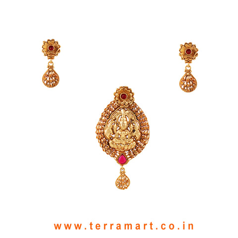 Graceful Lakshmi Designed Pink & Gold Antique Pendent Set - Terramart Jewellery