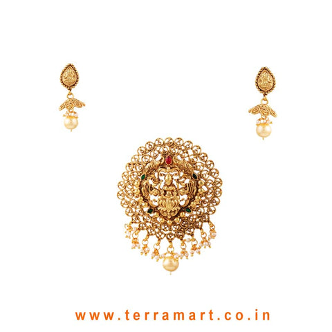 Graceful Lakshmi Designed Pink & Gold Antique Pendent Set With Pearl - Terramart Jewellery