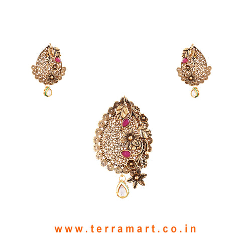 Beautiful Floral Designed White, Pink & Gold Antique Pendent Set  - Terramart Jewellery