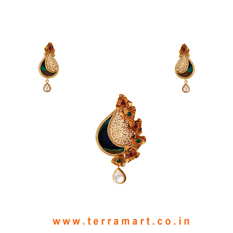 Peacock eye feather Designed Antique Pendent Set With White Kundan Stone