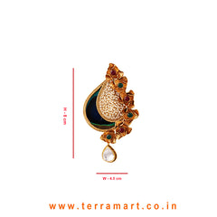 Peacock eye feather Designed Antique Pendent Set With White Kundan Stone Gold - Terramart Jewellery