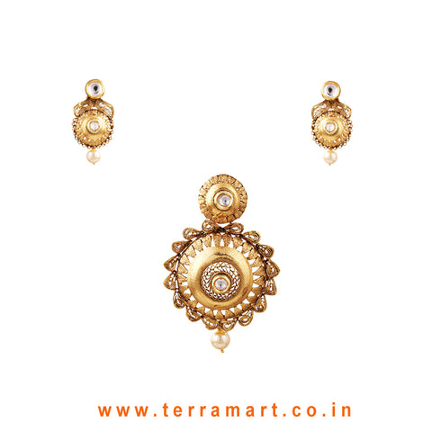 Ethnic Designed Gold Antique Pendent Set With White Stone & Pearl - Terramart Jewellery