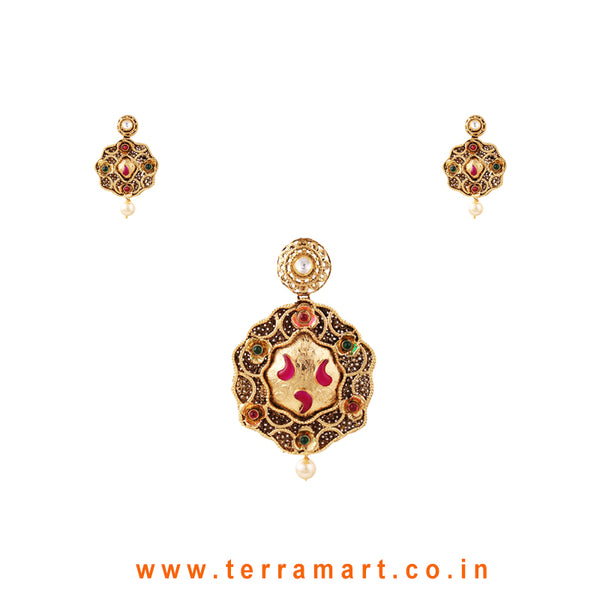 Terramart Jewellery - Antique Pendent Set with Bead  for Women / Girls  (Gold,White,Pink &Green)