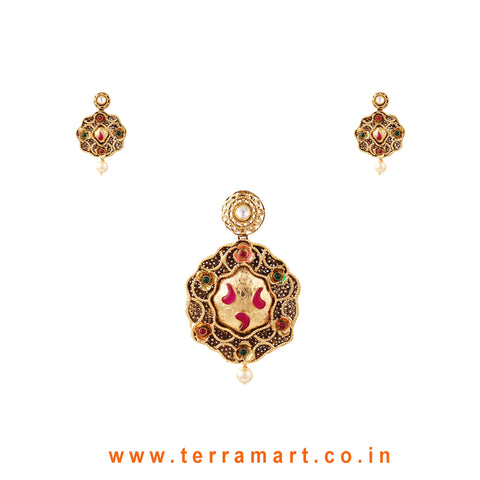Good Looking Antique Matte Finish Pendent Set With Pearl ( Gold ) - Terramart Jewellery