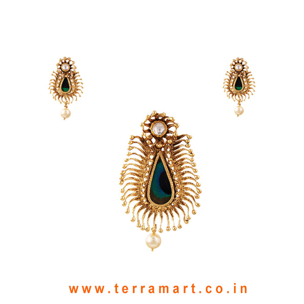 Terramart Jewellery - Antique Pendent Set with Bead  for Women / Girls (Gold & White with Peacock Feather)