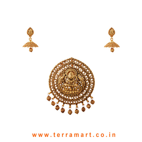 Graceful Lakshmi Gold Designed Antique Pendent With Jumka - Terramart Jewellery