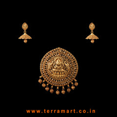 Terramart Jewellery - Antique Pendent Set with beads _Lakshmi for Women / Girls  (Gold)