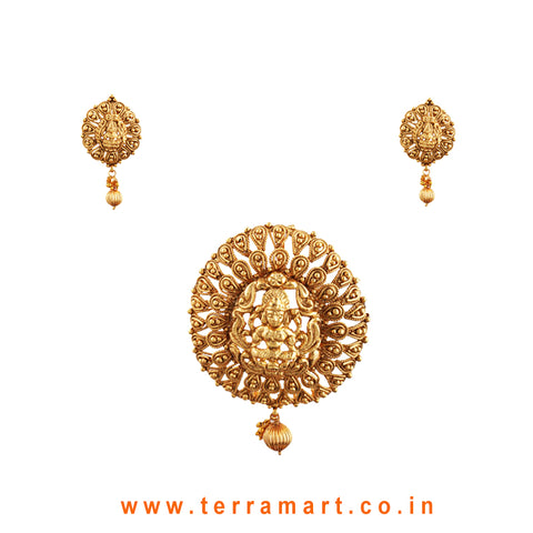 Terramart Jewellery - Antique Pendent Set with Bead _Lakshmi with Pearl  for Women / Girls ( Gold)