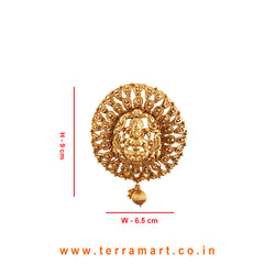 Graceful Lakshmi Gold Designed Antique Pendent With Earrings - Terramart Jewellery