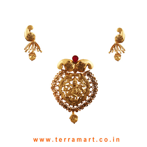 Lord Krishna Designed Pink & Gold Antique Pendent Set - Terramart Jewellery