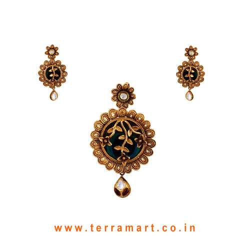 Floral & Peacock Eye Feather Designed Antique Pendent Set With White & Pink Stone ( Gold ) - Terramart Jewellery