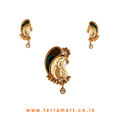 Terramart Jewellery - Antique Pendent Set_Peacock Feather  for Women / Girls  (Gold & White)