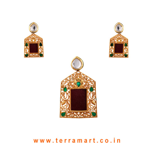 Dainty Antique Pendent Set With Pink, Green & Gold White Kundan Stone  - Terramart Jewellery