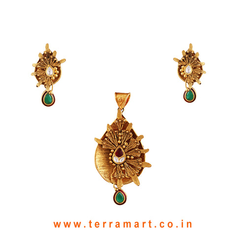 Fashion Fansy Floral Gold Antique Pendent Set With Pink, Green & White Kundan Stone - Terramart Jewellery