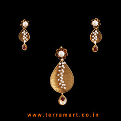 Terramart Jewellery - Antique Pendent Set with Pearl  for Women / Girls (Gold, Pink, White)
