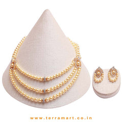 3 Layered Pearl Necklace set with White & Gold stones - Terramart Jewellery