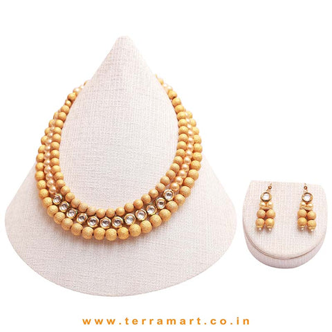 Bead Necklace set with Kundan stones - Terramart Jewellery