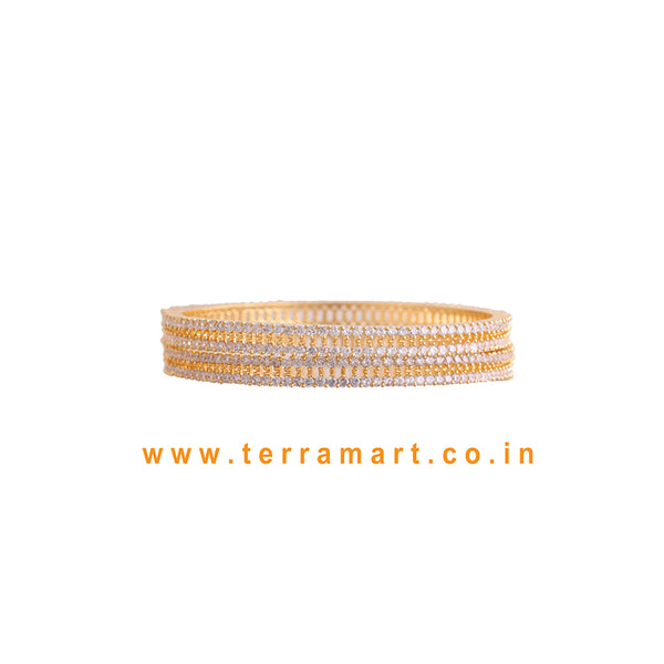 Pretty Stone Bangles With White & Gold Stones - Terramart Jewellery