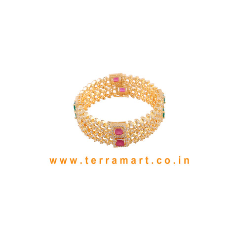 Traditional Pair Bangls With White, Pink, Green & Gold Stone - Terramart Jewellery
